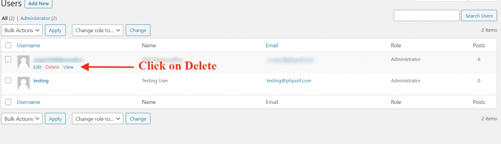 delete user wordpress