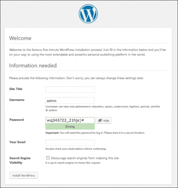 Image showing steps to Install WordPress on cPanel