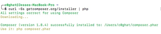 Image  showing command to install composer for learning what is laravel