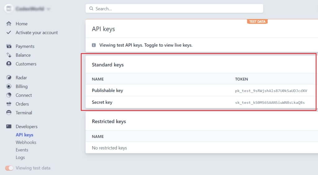 Image showing API keys to enable Stripe Subscription Payment Integration in CodeIgniter