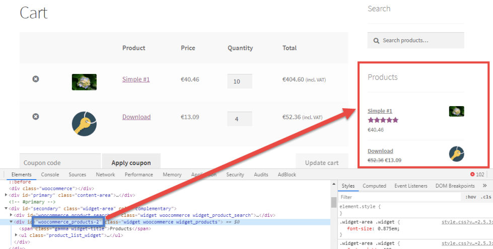 Image showing WooCommerce Conditionally Hide Widgets function