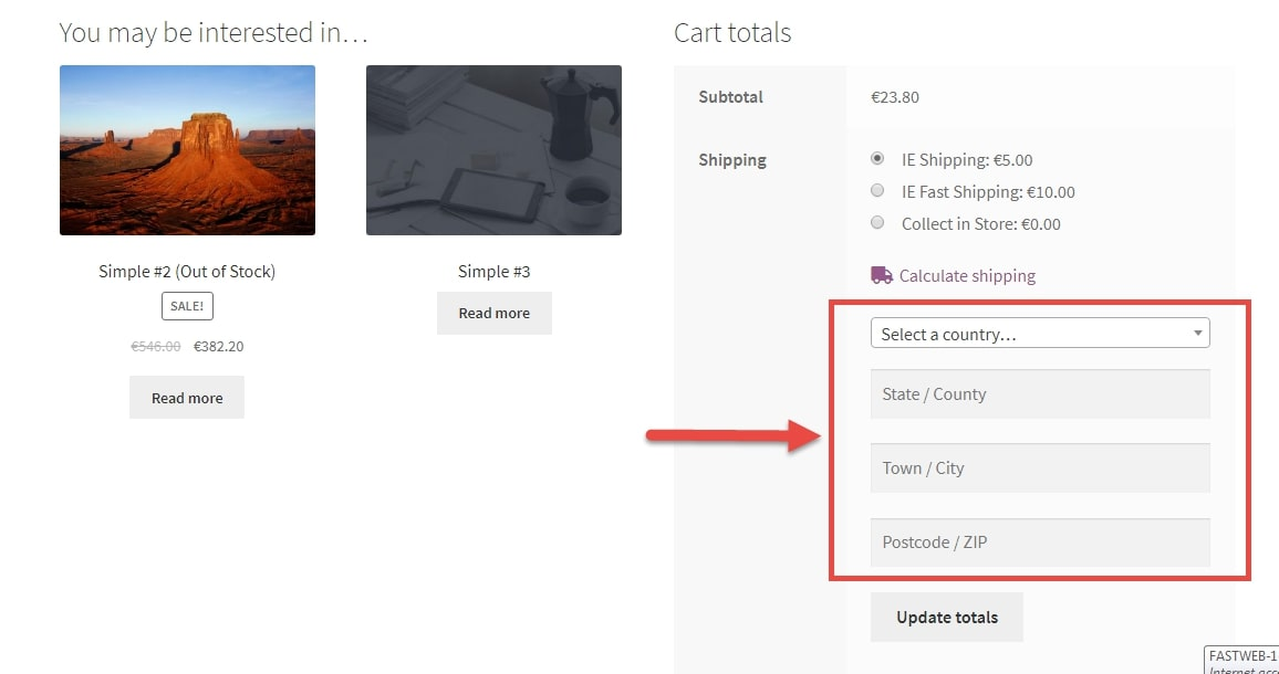 Image depicting to hide shipping calculator fields @ cart