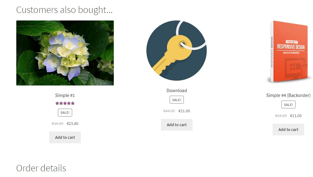 Image of snippet showing products to upsell