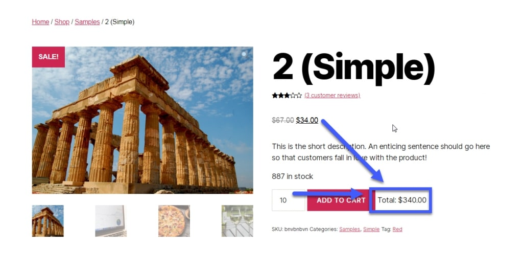 Image of improved UX after enabling WooCommerce Calculate Subtotal On Quantity Increment @ Single Product feature