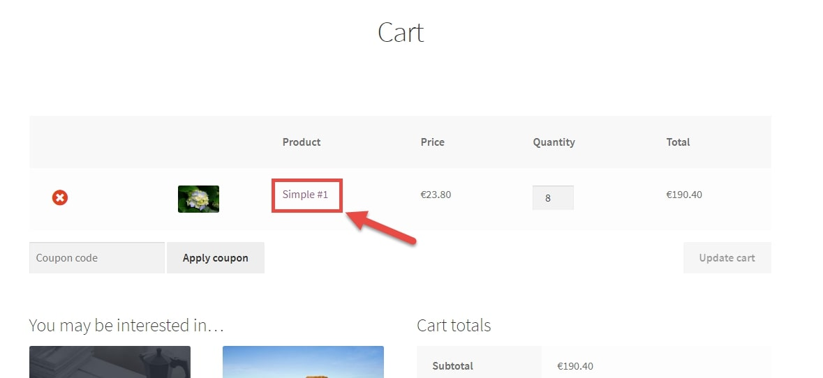 Image depicting to remove product links at cart page
