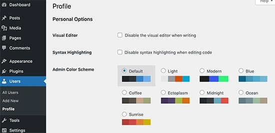 Image showing new color scheme palettes in WordPress 5.7 features