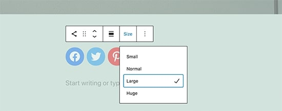 Image showing flexible social icon sizes available in the WordPress 5.7 features