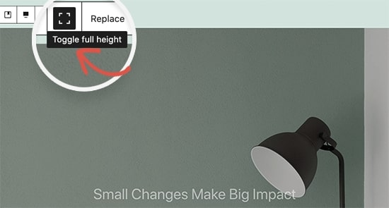 Image showing toggle full height which is WordPress 5.7 features