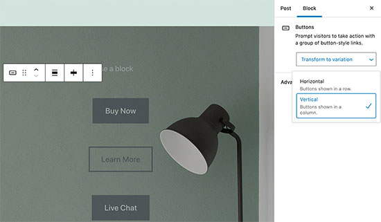 Image showing improved button block in the new WordPress release