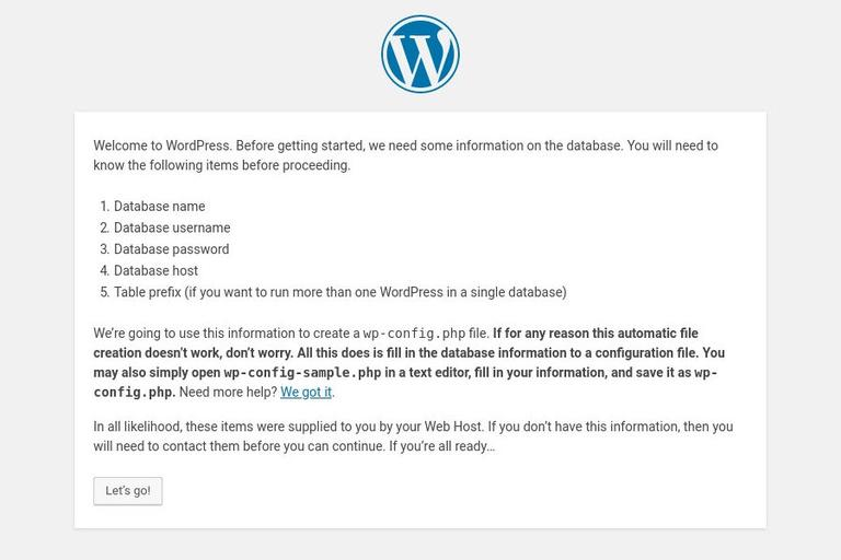 Image confirming the steps to install WordPress CMS