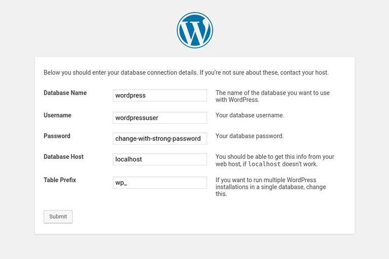 Image suggesting to submit user details to install WordPress with Apache on Ubuntu 18.04