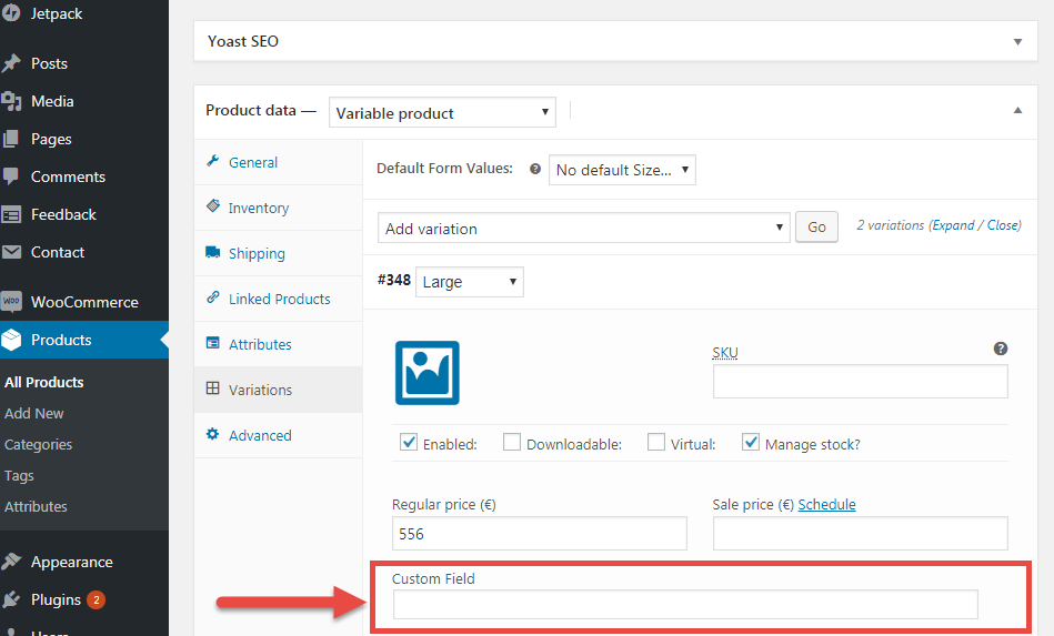 Image showing WooCommerce add custom fields to products variations function