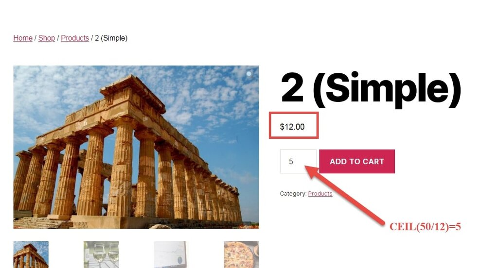 Image showing WooCommerce Min Purchase amount for product & cart page