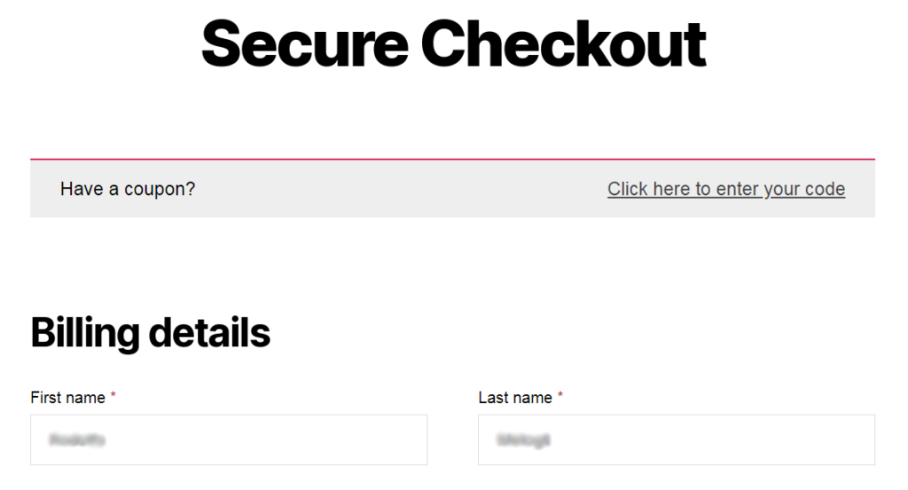 Image of two column checkout layout before you add WordPress Customizer Setting in WooCommerce