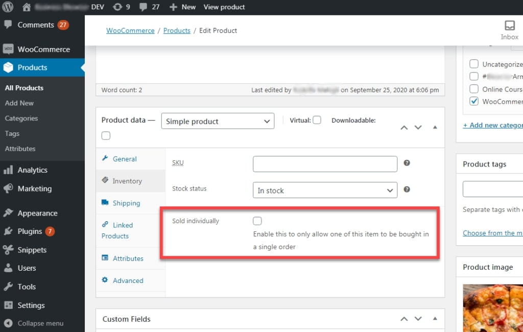 Image showing product settings that will be altered after applying conditionally force product quantity 1 at cart function