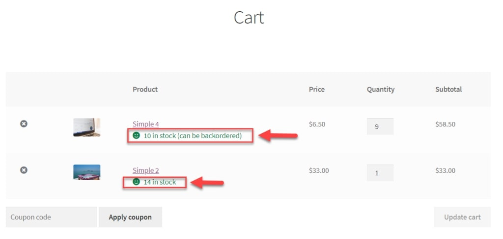 Image describing how to show product stock at cart page in WooCommerce