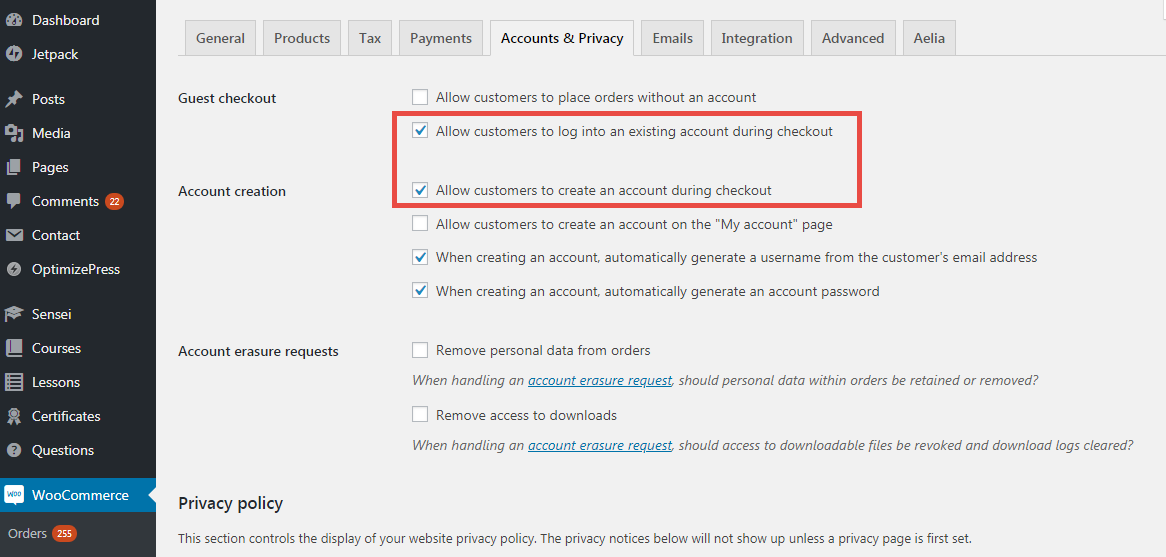 Image showing how to remove login or registration at checkout